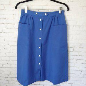 Vintage Koret Blue Aline Button Snap Skirt Pockets